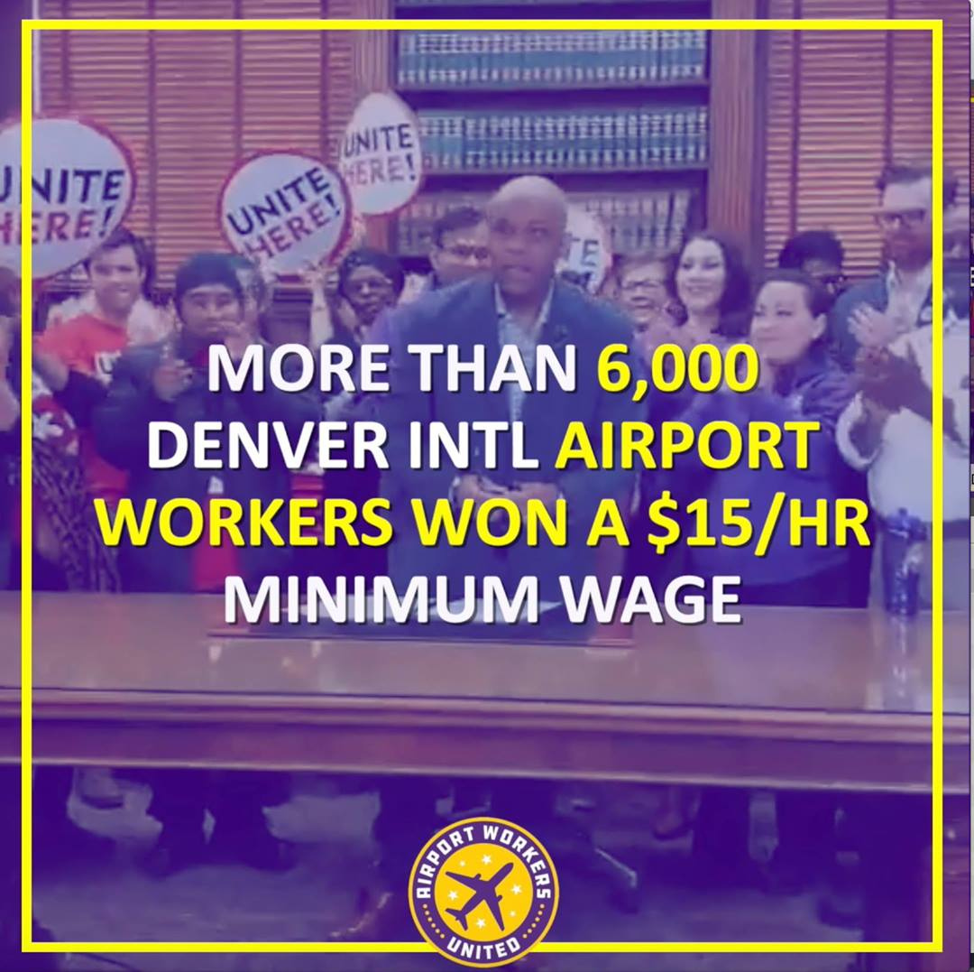 Denver Airport workers win $15