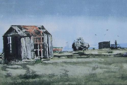 'Huts and Boats, Dungeness' monoprint