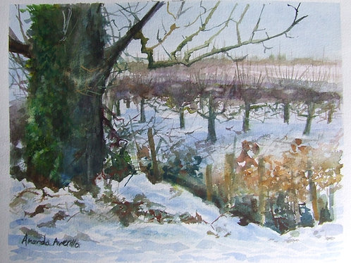 'Snow in the Apple Orchard' watercolour