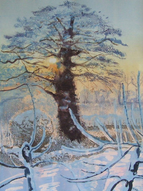 'Snow in the Apple Orchard' monoprint