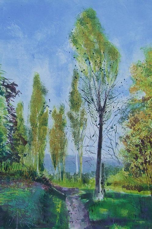 'A Walk Through the Poplar Trees' monoprint