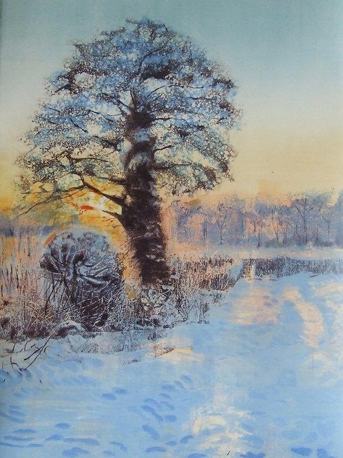 'Snowy Orchard' monoprint