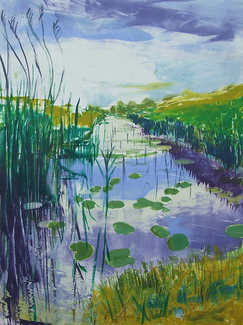 'Water Lilies and Grasses' monoprint