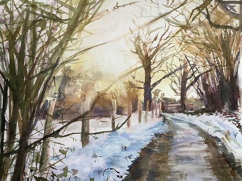 'Afternoon Walk' watercolour