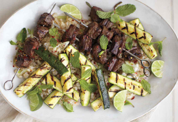 Grilled Beef Skewers with Zucchini and Mint
