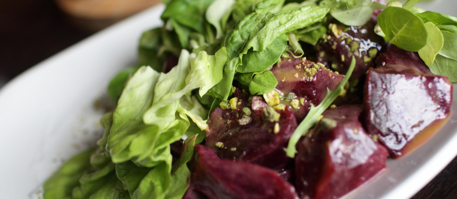 Roasted Beets on Greens