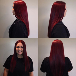 This is my sweet guest _kayyleekrueger! The first time she came in she had red hot roots and artificial black hair from the mid-shaft to end