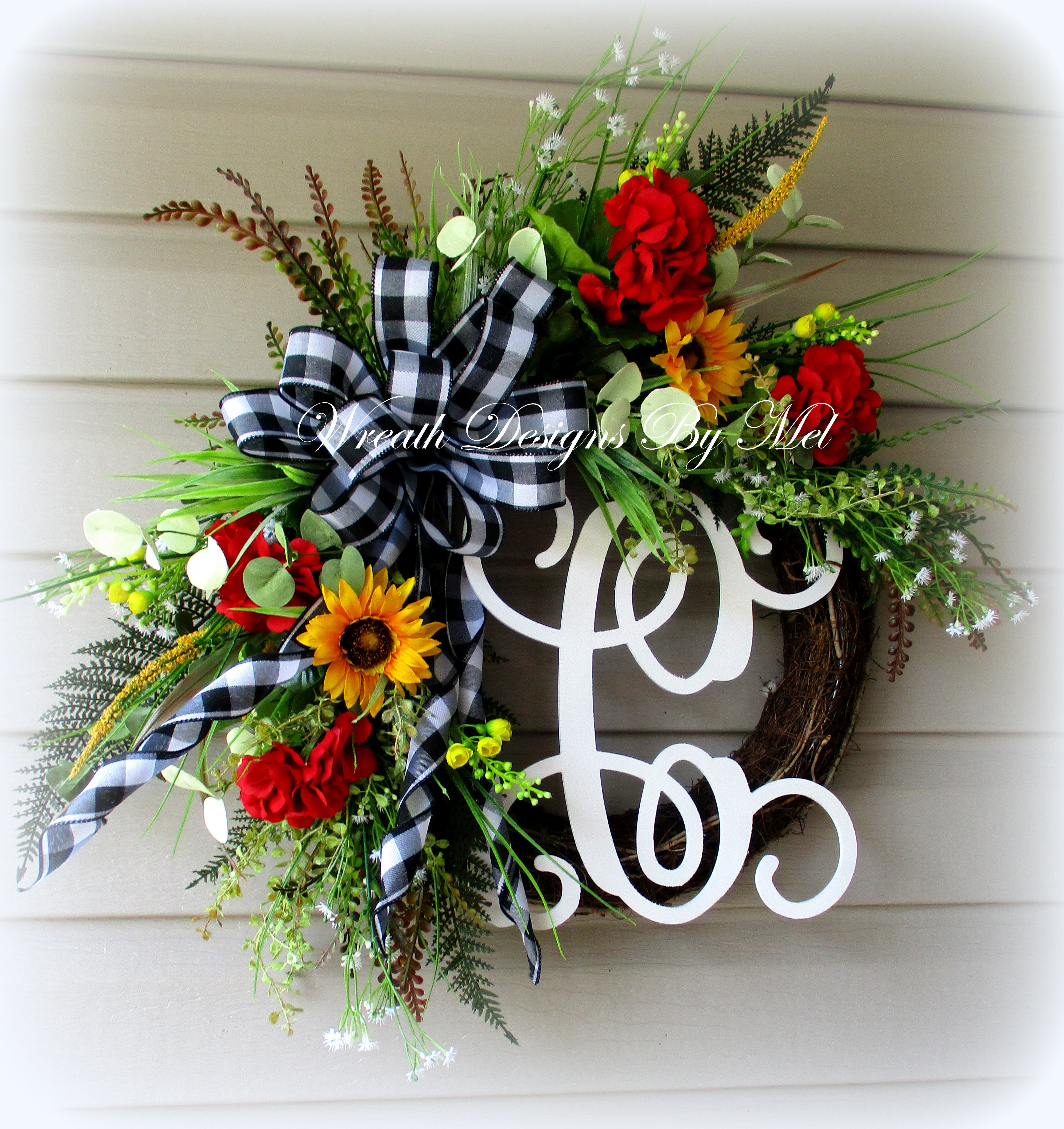 24 Colorful Geranium And Sunflower Wreath Initial Wreathdesignsandmore