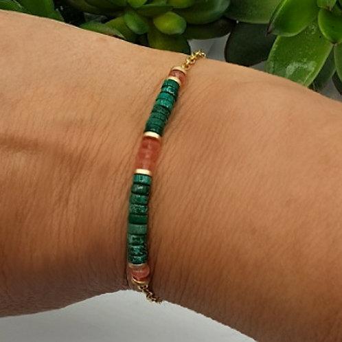 Bracelet en pierres naturelles et acier inoxydable