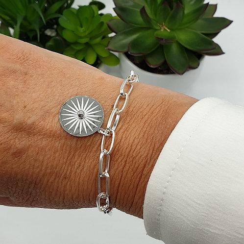 Bracelet en argent et acier inoxydable