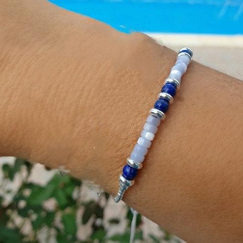 Bracelet en argent, lapis lazuli et nacre