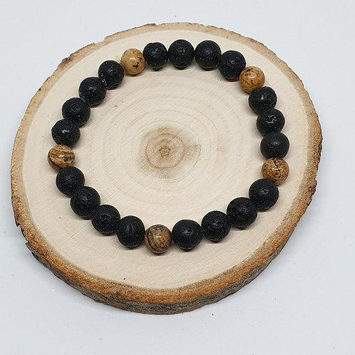 Bracelet homme pierre de lave et jaspe