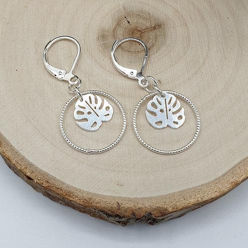 Boucles d'oreilles en argent anneau et feuille