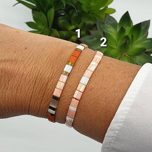 Bracelet en perles Miyuki saumon
