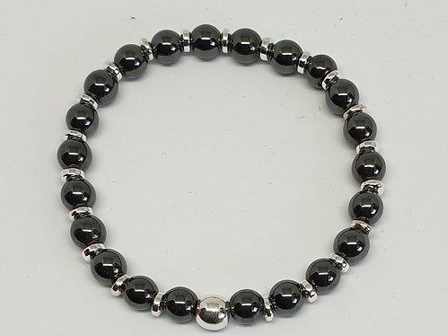 Bracelet perles hématite et argent 925