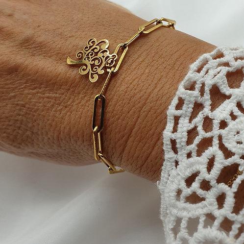 "Bracelet en acier inoxydable doré ""arbre de vie"""