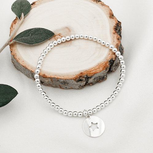 Bracelet en argent 925 avec médaille étoile
