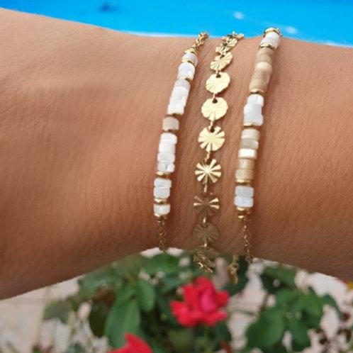 Combo de 3 bracelets en nacre et acier inoxydable doré