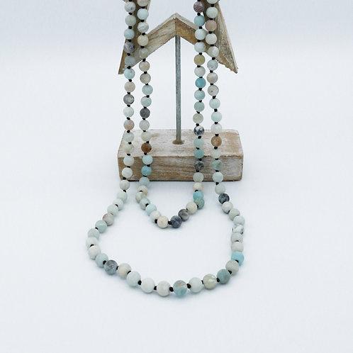 Long sautoir en perles d'amazonite