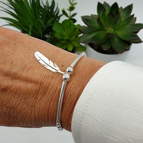Bracelet plume en argent 925
