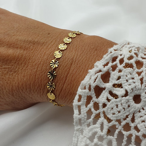 """Bracelet en acier inoxydable doré """"petits soleils"""""""