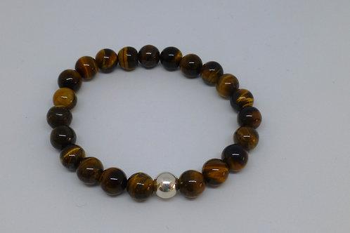 Bracelet en perles d'oeil de tigre et argent 925