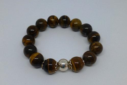 Bracelet en perles oeil de tigre et argent 925