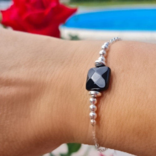 Bracelet en argent et onyx