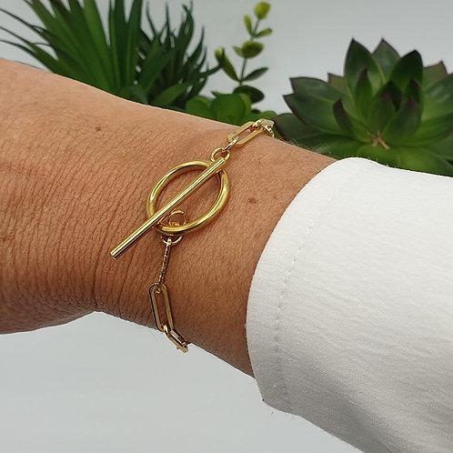 Bracelet toggle en acier inoxydable doré