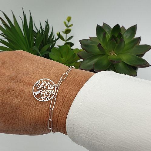Bracelet en argent 925 médaille arbre de vie