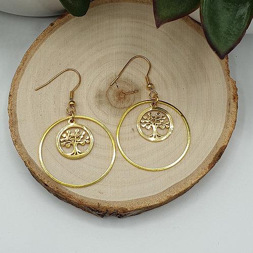 """Boucles d'oreilles en acier inoxydable doré médaille """"arbre de vie"""""""