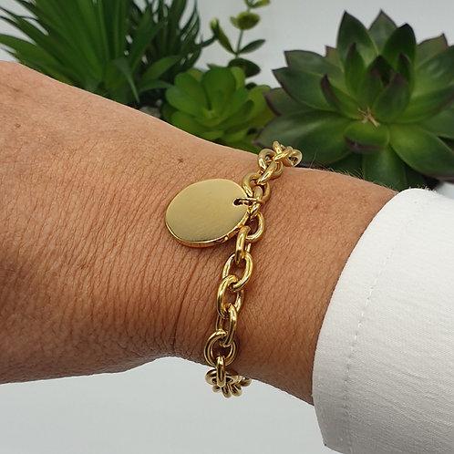 """Bracelet en acier inoxydable doré """"médaille"""""""