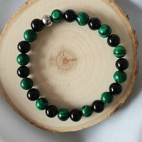 Bracelet homme malachite et obsidienne noire mate