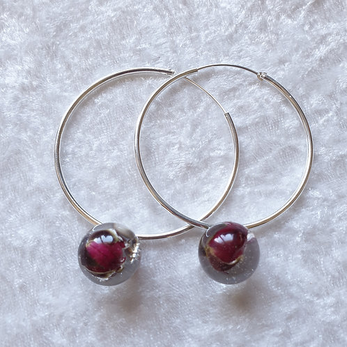 Boucles d'oreille créole et bouton de rose