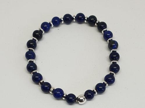 Bracelet perles lapis lazuli et argent 925