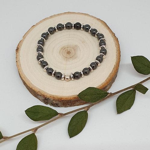 Bracelet hématite et argent 925