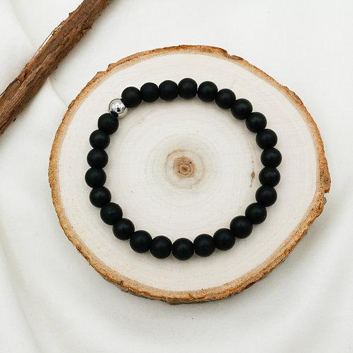 Bracelet homme obsidienne noire mate