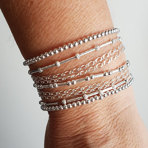 Bracelet multi-rangs (7 rangs) en argent 925