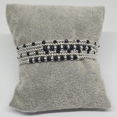 Bracelet 3 fils double tours de perles d'argent et obsidienne