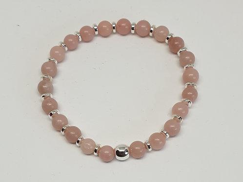 Bracelet perles opale rose et argent 925