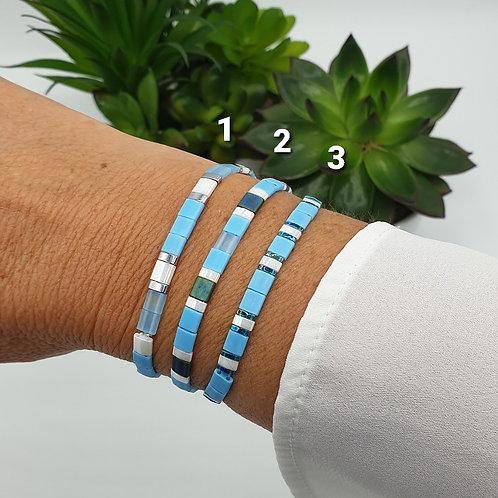Bracelet en perles Miyuki bleu clair