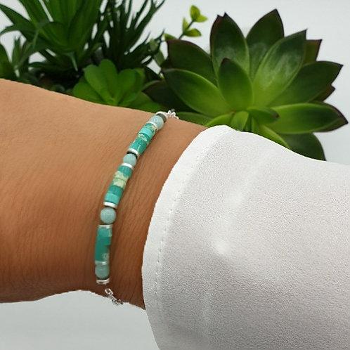 Bracelet en argent et pierre naturelle