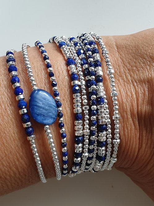 Bracelet double tours en argent 925 et lapis lazuli