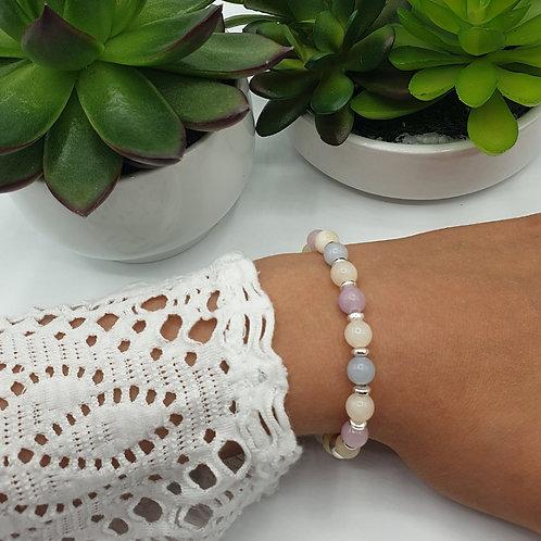 Bracelet en argent et perles de morganite