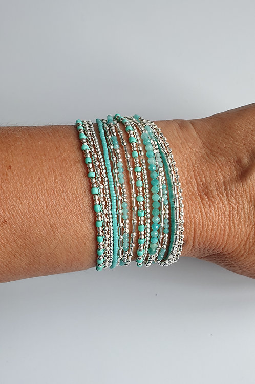 Bracelet double tours en argent et amazonite