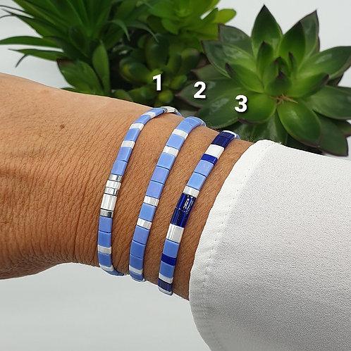 Bracelet en perles Miyuki bleu jean