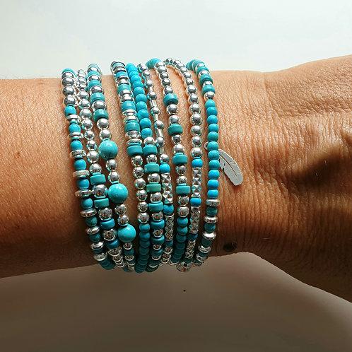Bracelet multitours en argent 925 etturquoise