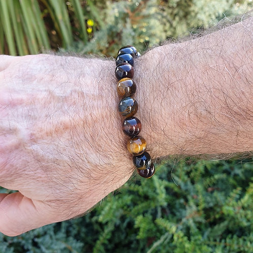 Bracelet homme oeil de tigre mélangé