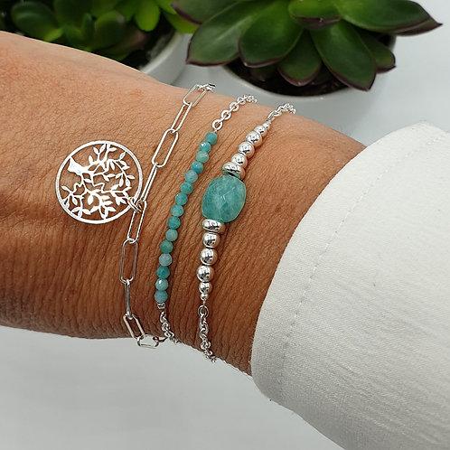 Trio de bracelet argent et amazonite