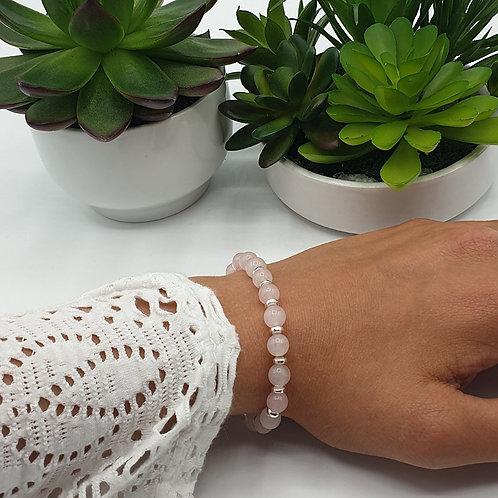 Bracelet en argent et perles de quartz rose